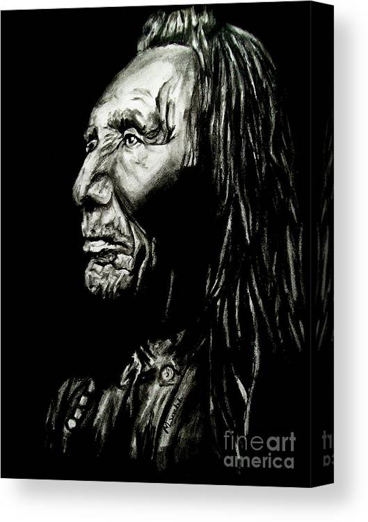 Indian Warrior Canvas Print featuring the drawing Indian Warrior by Michael Grubb