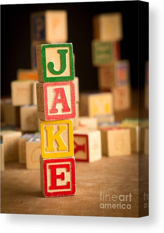 Abcs Canvas Print featuring the photograph Jake - Alphabet Blocks by Edward Fielding
