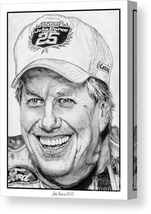 Mccombie Canvas Print featuring the drawing John Force In 2010 by J McCombie