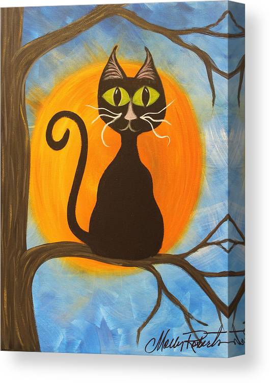 Halloween Canvas Print featuring the painting Kitty Of The Night by Molly Roberts