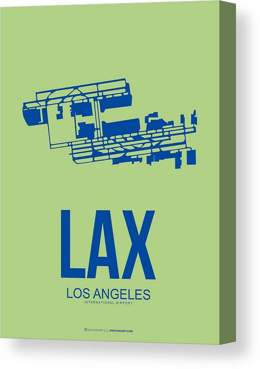 Los Angeles Canvas Print featuring the digital art Lax Airport Poster 1 by Naxart Studio