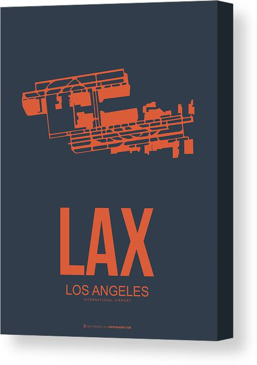 Los Angeles Canvas Print featuring the digital art Lax Airport Poster 3 by Naxart Studio
