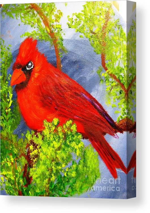 Birds Canvas Print featuring the painting Leave Me Alone by Betty and Kathy Engdorf and Bosarge