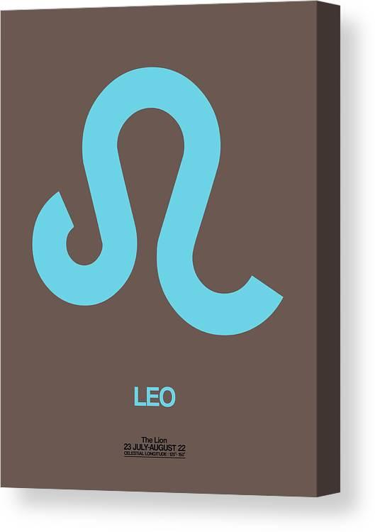 Leo Canvas Print featuring the digital art Leo Zodiac Sign Blue by Naxart Studio