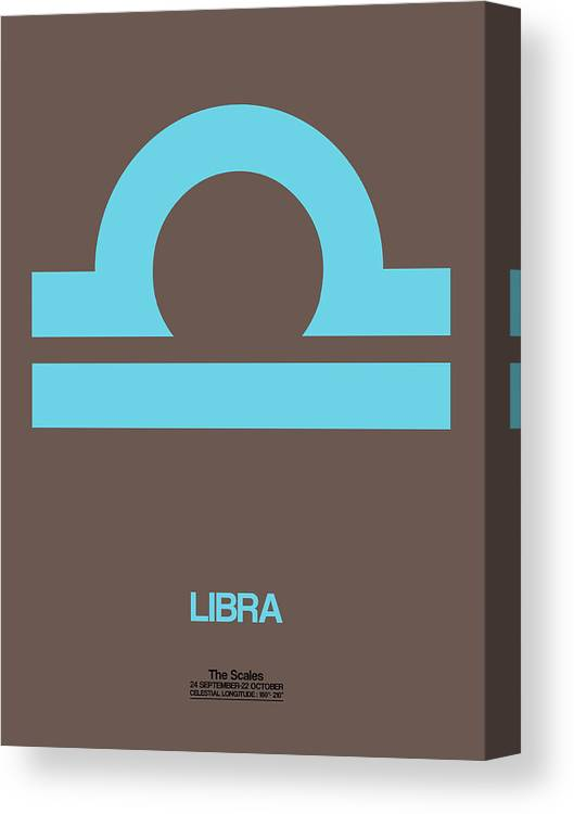 Libra Canvas Print featuring the digital art Libra Zodiac Sign Blue by Naxart Studio