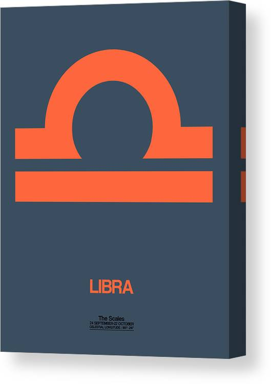 Libra Canvas Print featuring the digital art Libra Zodiac Sign Orange by Naxart Studio