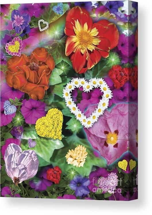 Alixandra Mullins Canvas Print featuring the digital art Love Flowers Garden by Alixandra Mullins