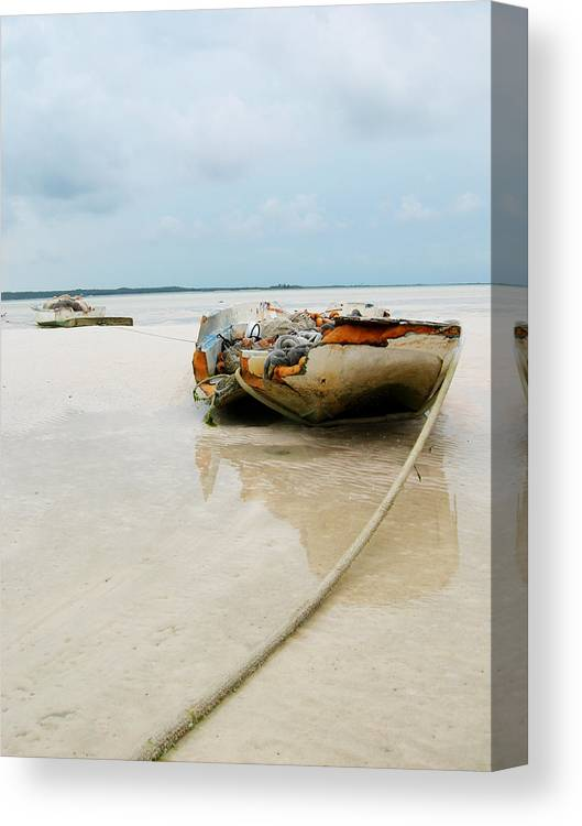 Boat Canvas Print featuring the photograph Low Tide 3 by Sarah-jane Laubscher