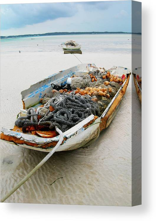 Boat Canvas Print featuring the photograph Low Tide 4 by Sarah-jane Laubscher