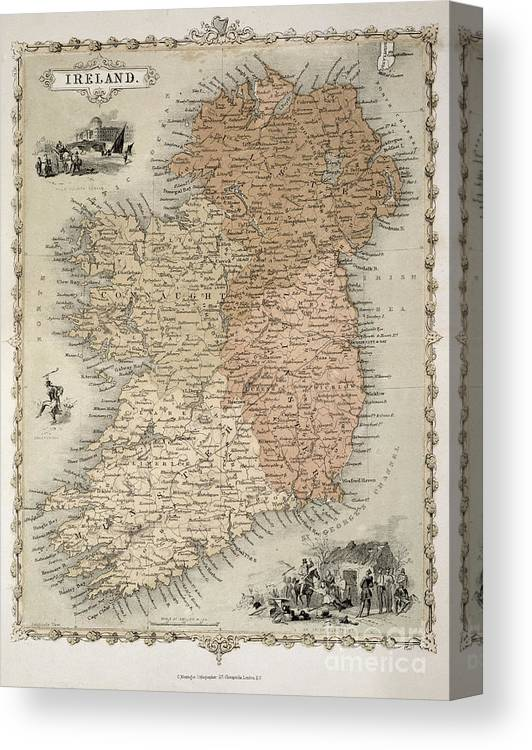 Print Map Of Ireland.Map Of Ireland Canvas Print