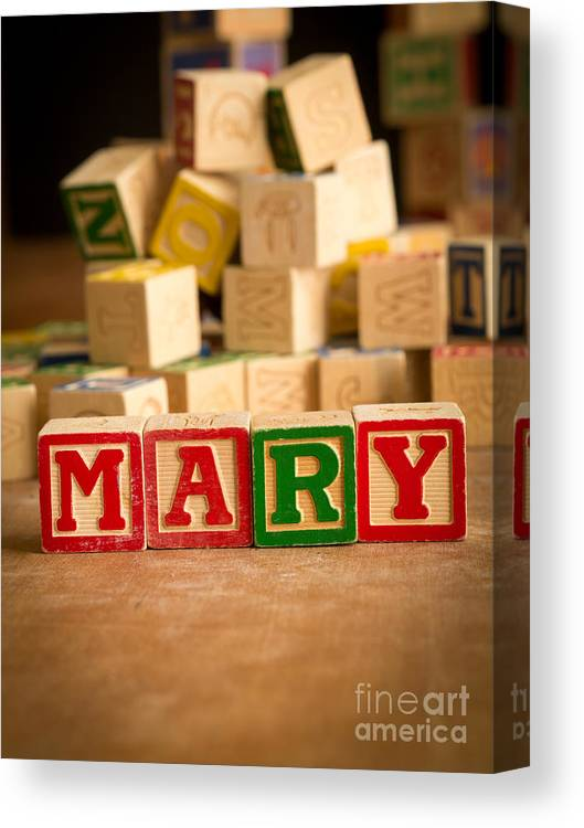 Abcs Canvas Print featuring the photograph Mary - Alphabet Blocks by Edward Fielding