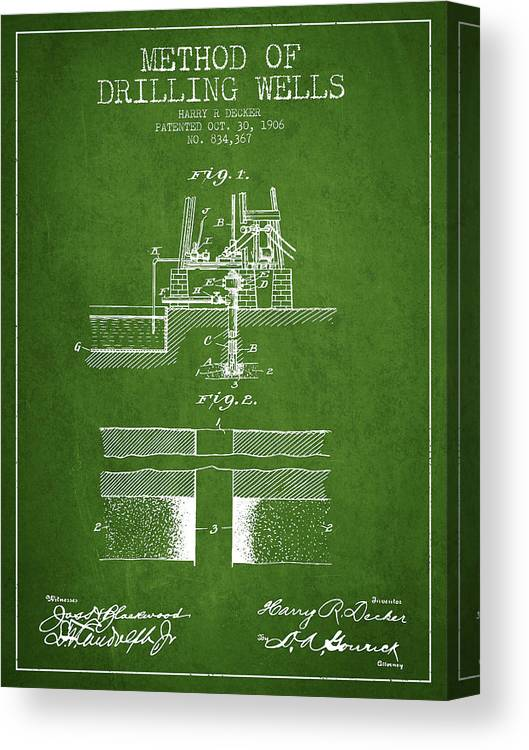 Oil Canvas Print featuring the digital art Method Of Drilling Wells Patent From 1906 - Green by Aged Pixel