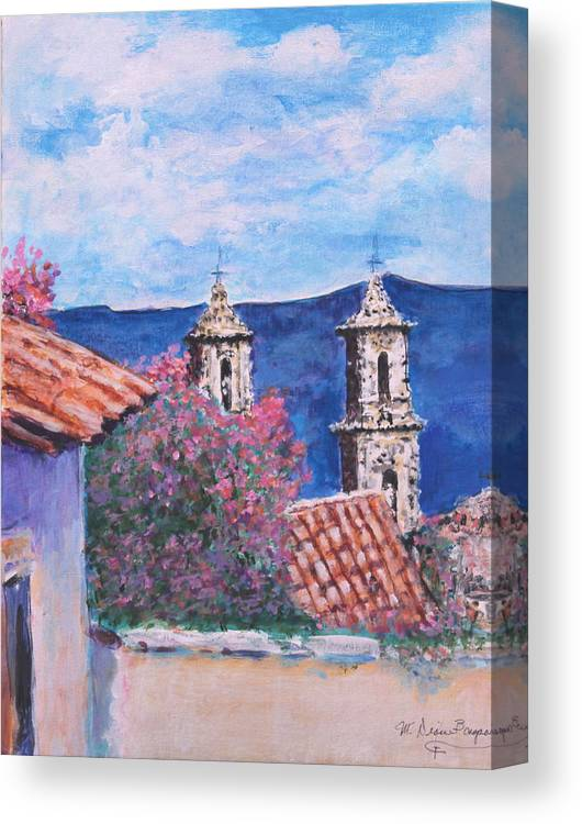 Mexico Canvas Print featuring the painting Mission View by M Diane Bonaparte