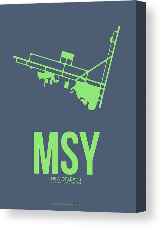 New Orleans Canvas Print featuring the digital art Msy New Orleans Airport Poster 2 by Naxart Studio