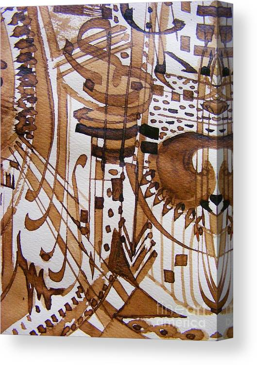 Abstract Pen And Ink Painting Canvas Print featuring the painting Music 3 by Nancy Kane Chapman