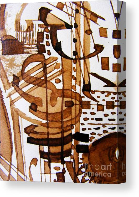 Abstract Musical Theme Pen And Ink Painting Canvas Print featuring the painting Musical 7 by Nancy Kane Chapman