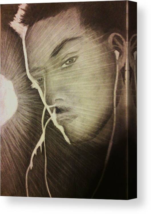Male Canvas Print featuring the drawing Musically Mesmerized by Crystal Menicola