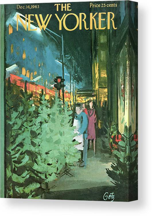 Christmas Canvas Print featuring the painting New Yorker December 14th, 1963 by Arthur Getz