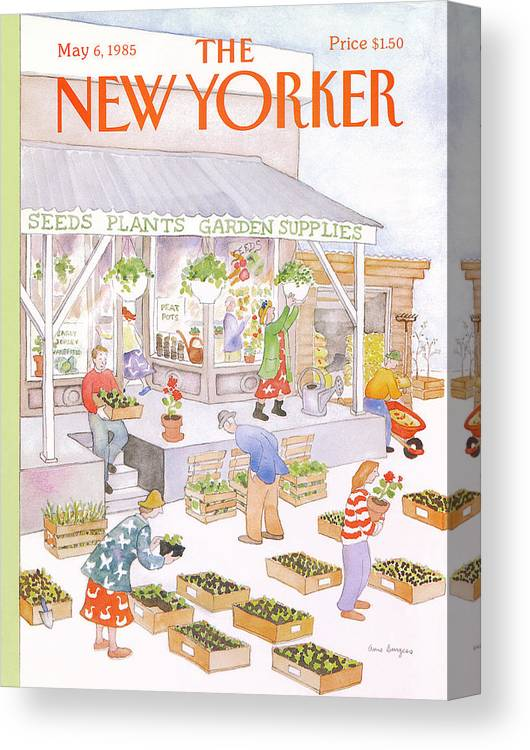 Garden Canvas Print featuring the painting New Yorker May 6th, 1985 by Anne Burgess