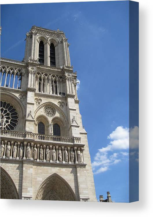 Notre Dame Canvas Print featuring the photograph Notre Dame Cathedral Paris Tower by Stephanie Hunter