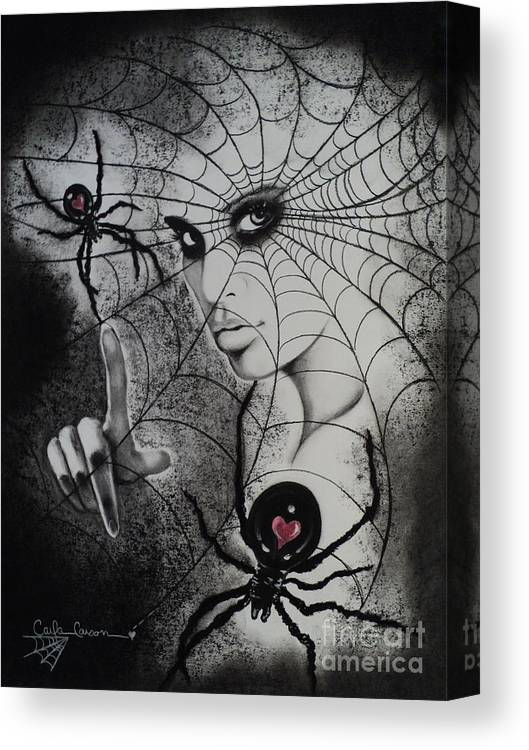 Spider Canvas Print featuring the drawing Oh What Tangled Webs We Weave by Carla Carson