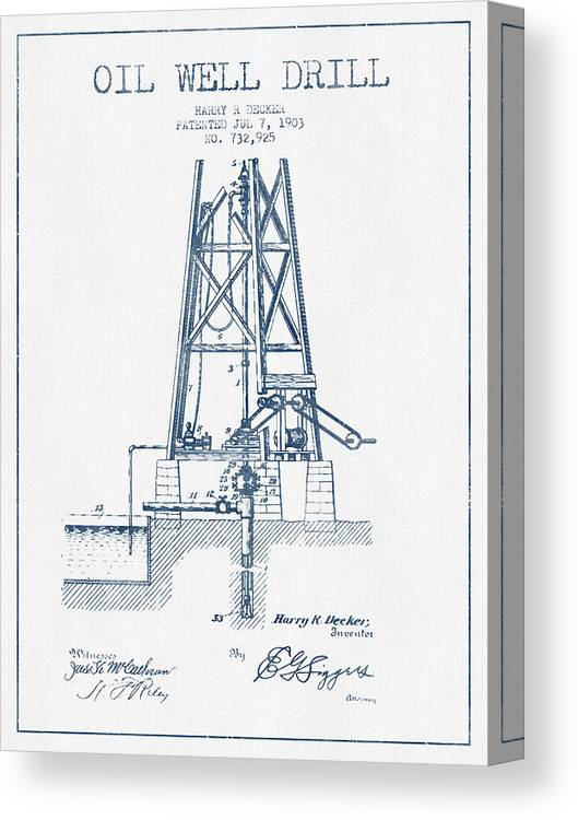 Oil Well Drill Patent From 1903 - Blue Ink Canvas Print / Canvas Art Oil Well Schematic on blowout preventer, oil platform, oil well liner, oil well casing, directional drilling, oil well parts, oil well christmas tree, oil well 3d, oil well drilling, drilling rig, oil well architecture, oil well features, oil well icon, drilling fluid, oil well engineering, drill bit, oil well hardware, submersible pump, oil well description, oil well diagram, oil well project, oil well chart, oil well model, oil well drawing, well drilling, oil well choke, offshore drilling, oil well packer, oil well head equipment, christmas tree,