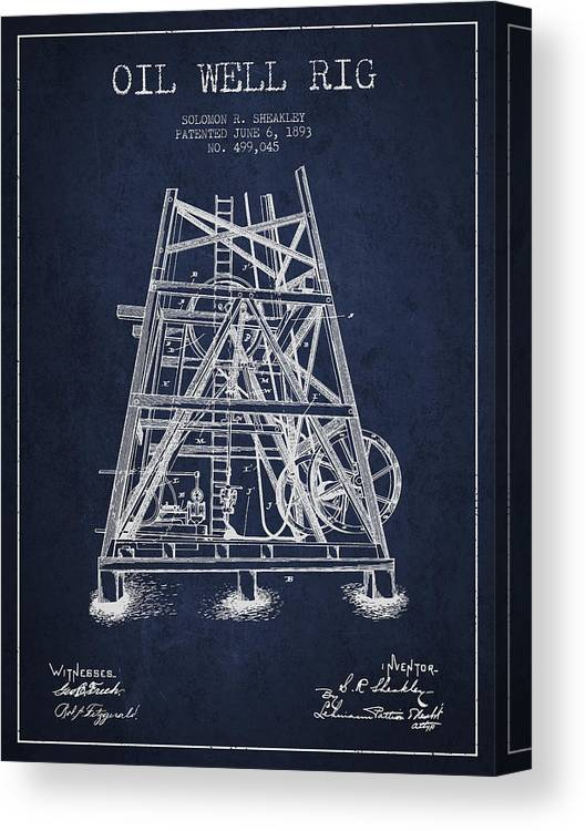Oil Canvas Print featuring the digital art Oil Well Rig Patent From 1893 - Navy Blue by Aged Pixel