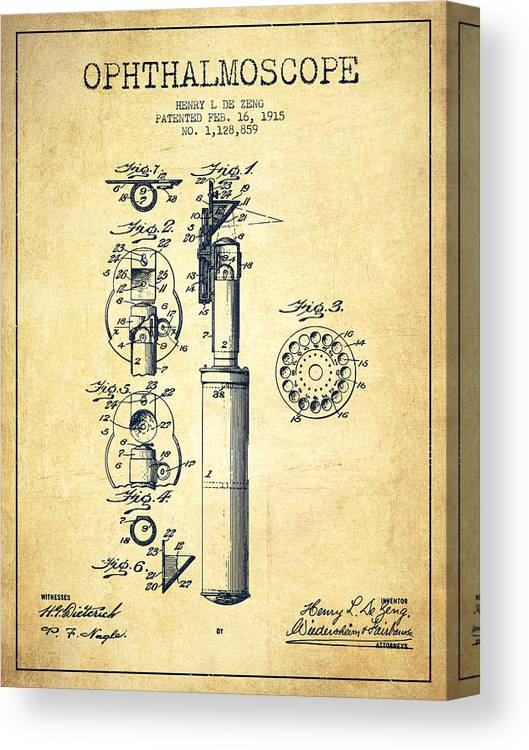 Medical Device Canvas Print featuring the digital art Ophthalmoscope Patent From 1915 - Vintage by Aged Pixel
