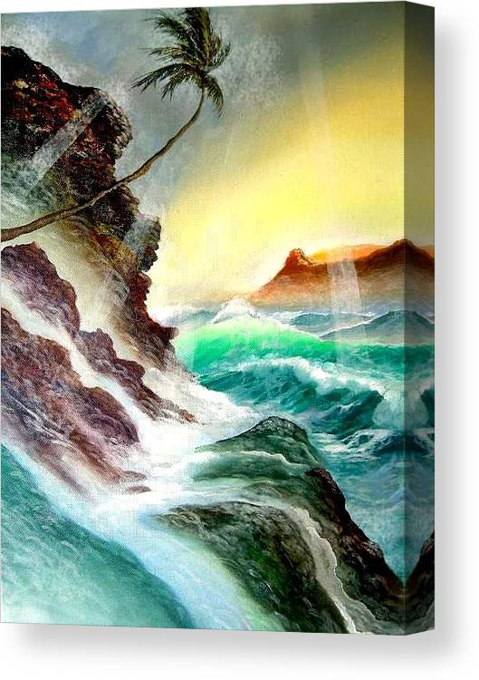 Hawaii Diamondhead Waikiki Canvas Print featuring the painting Othere Side Of Diamondhead Waikiki Hawaii by Leland Castro