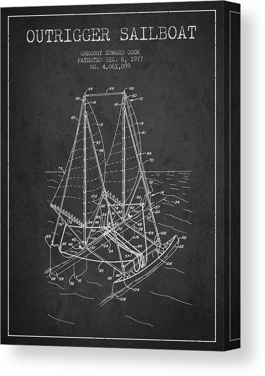 Sailboat Canvas Print featuring the digital art Outrigger Sailboat Patent From 1977 - Dark by Aged Pixel