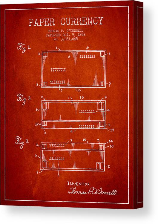 Dollar Canvas Print featuring the digital art Paper Currency Patent From 1962 - Red by Aged Pixel