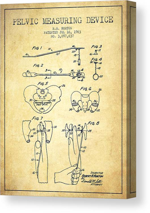 Pelvic Canvas Print featuring the drawing Pelvic Measuring Device Patent From 1963 - Vintage by Aged Pixel
