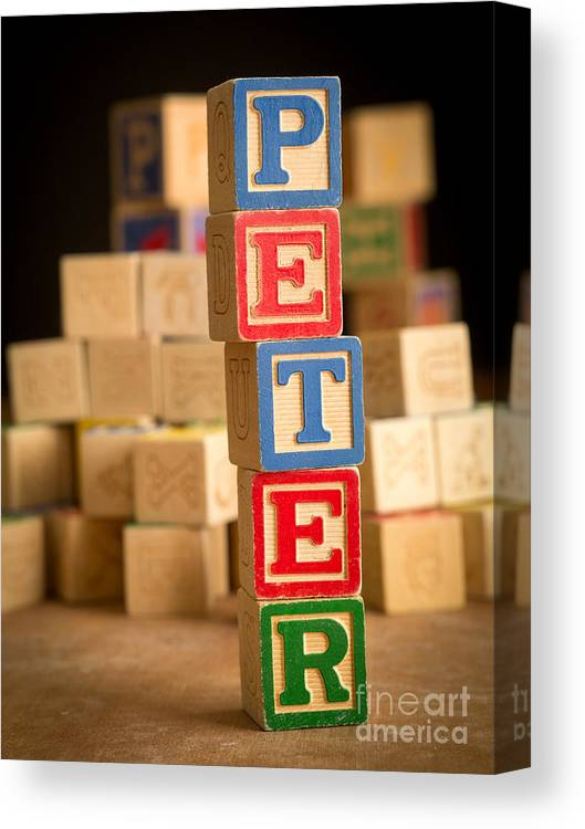 Abcs Canvas Print featuring the photograph Peter - Alphabet Blocks by Edward Fielding