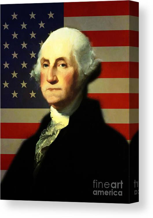photograph about Printable Pictures of George Washington named President George Washington V4 Canvas Print