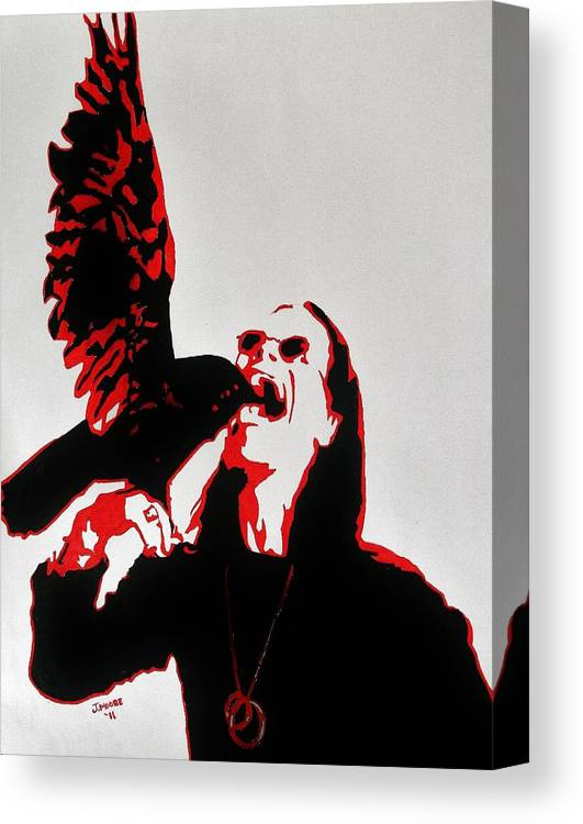 Ozzy Osbourne Singer Musician Celebrity Prince Darkness Metal Rock Roll Bird Crow Raven Animal Wildlife Nature Pet Wings Canvas Print featuring the painting Prince Of Darkness And Friend by Jeremy Moore