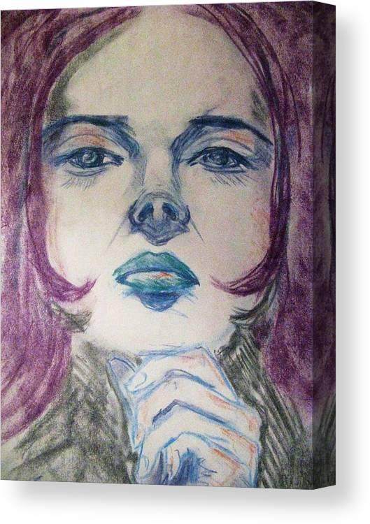 Woman Canvas Print featuring the pastel Purple Haze by Agata Suchocka-Wachowska