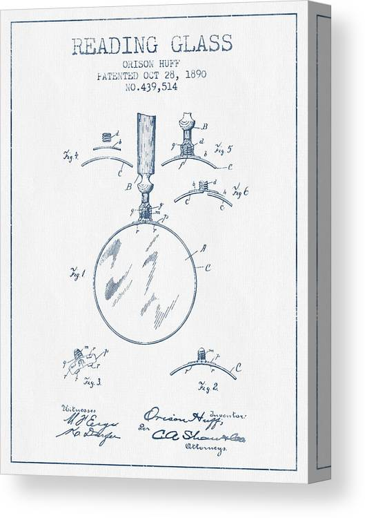 Reading Glass Canvas Print featuring the digital art Reading Glass Patent From 1890- Blue Ink by Aged Pixel