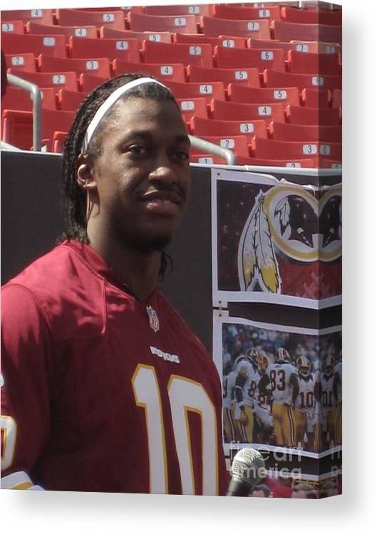Redskins Canvas Print featuring the photograph Rg3 Draft Day by Heather Taylor