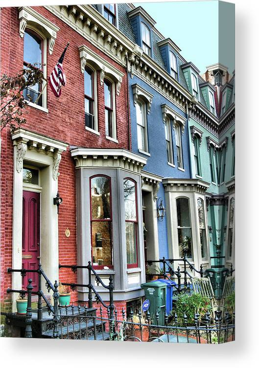 Homes Canvas Print featuring the photograph Rowhouses Of Eastern Market Xiv by Steven Ainsworth