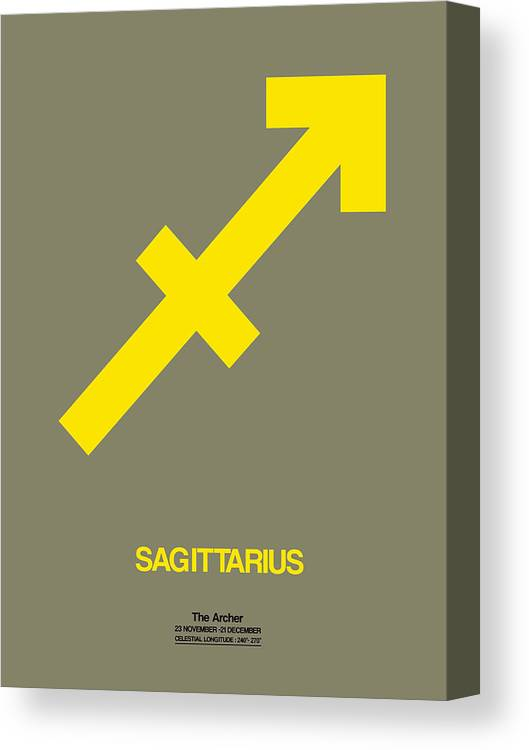 Sagittarius Canvas Print featuring the digital art Sagittarius Zodiac Sign Yellow by Naxart Studio