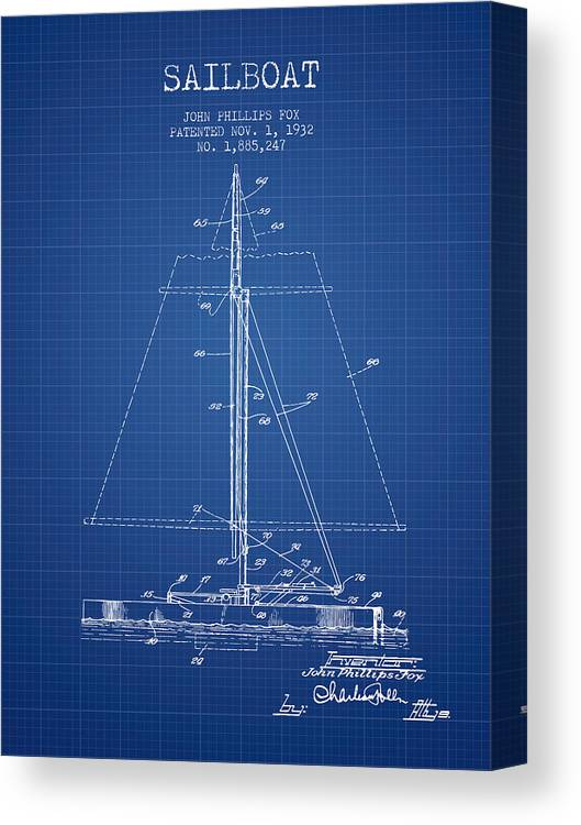 Sailing Canvas Print featuring the digital art Sailboat Patent From 1932 - Blueprint by Aged Pixel