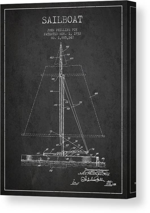 Sailboat Canvas Print featuring the digital art Sailboat Patent From 1932 - Dark by Aged Pixel
