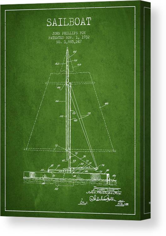Sailing Canvas Print featuring the digital art Sailboat Patent From 1932 - Green by Aged Pixel