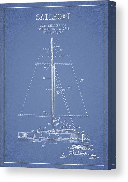 Sailing Canvas Print featuring the digital art Sailboat Patent From 1932 - Light Blue by Aged Pixel
