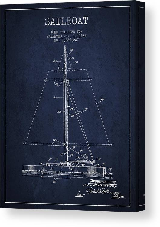 Sailing Canvas Print featuring the digital art Sailboat Patent From 1932 - Navy Blue by Aged Pixel