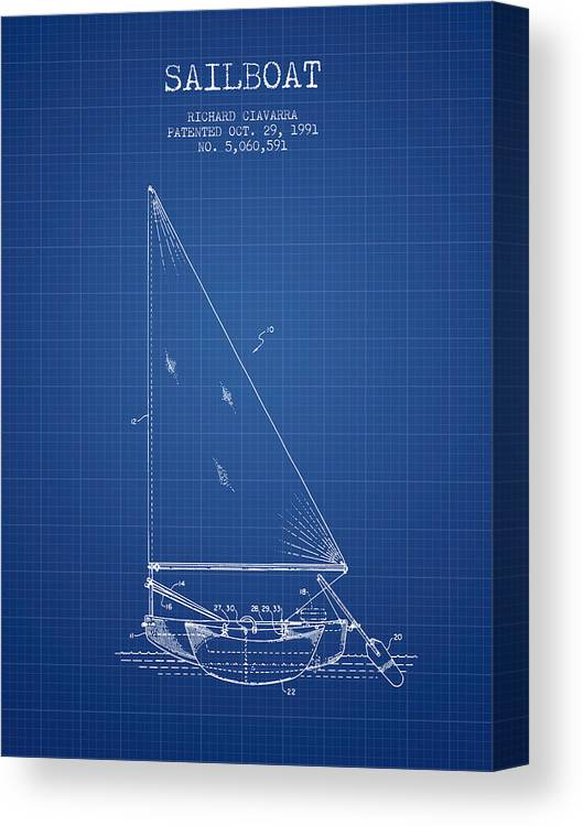 Sailboat Canvas Print featuring the digital art Sailboat Patent From 1991- Blueprint by Aged Pixel
