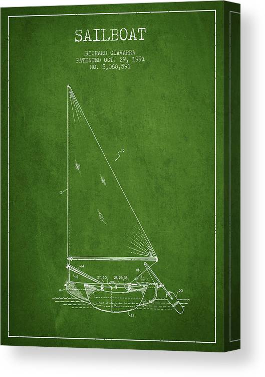 Sailboat Canvas Print featuring the digital art Sailboat Patent From 1991- Green by Aged Pixel