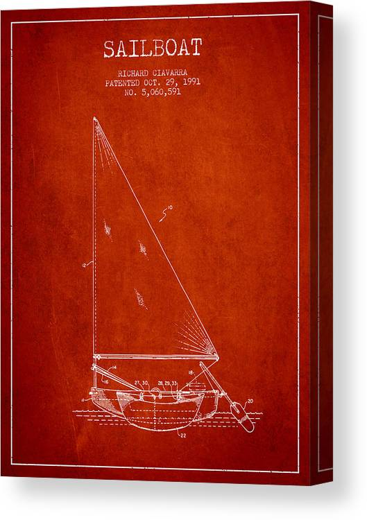 Sailboat Canvas Print featuring the digital art Sailboat Patent From 1991- Red by Aged Pixel