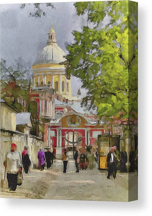 Saint Canvas Print featuring the digital art Saint Petersburg Saint Alexander Cathedral by Yury Malkov