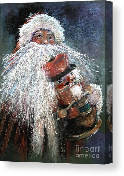 Santa Claus Canvas Print featuring the painting Santa Claus St Nick And The Nutcracker by Shelley Schoenherr